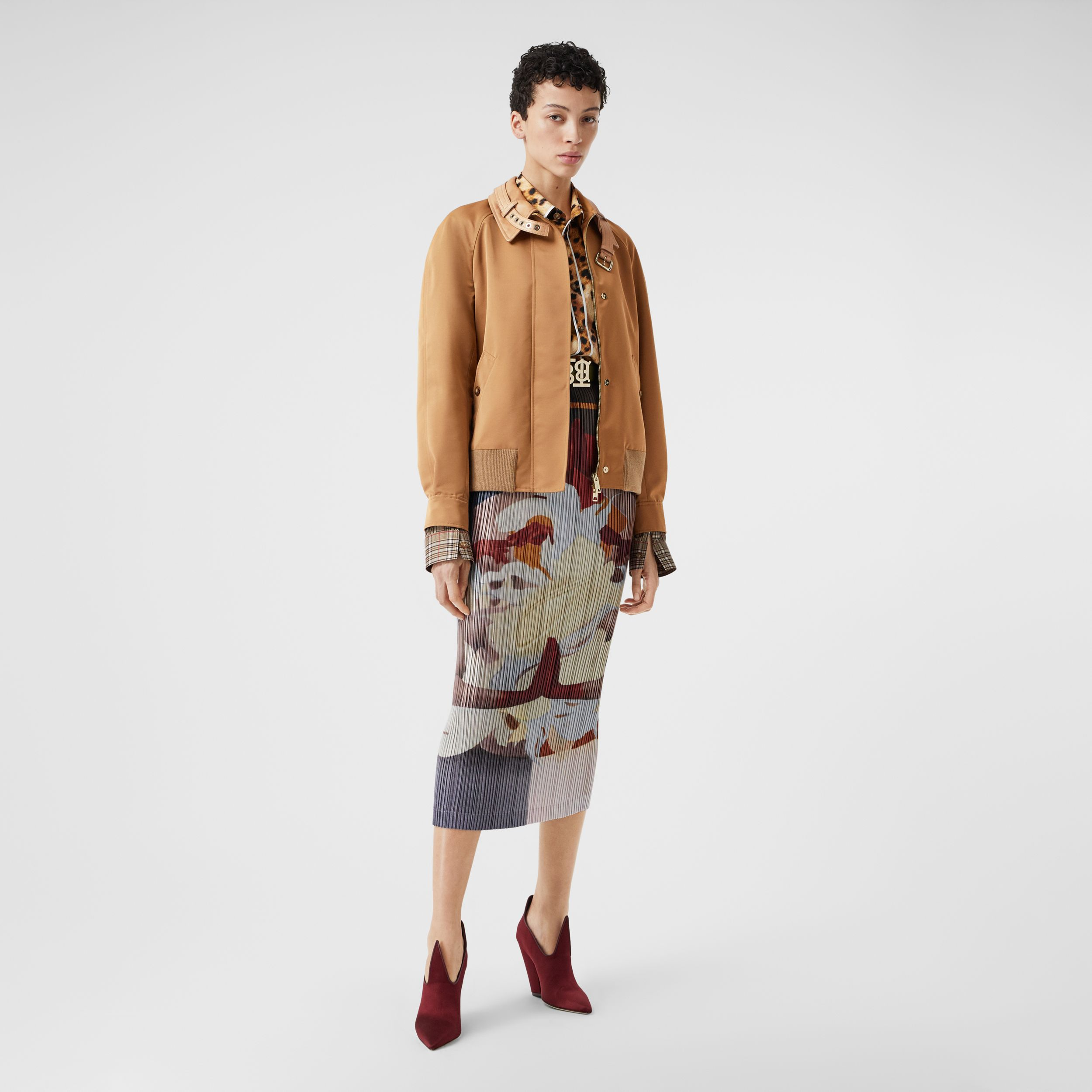 Lambskin Trim Technical Wool Silk Harrington Jacket in Camel - Women | Burberry Singapore - 1