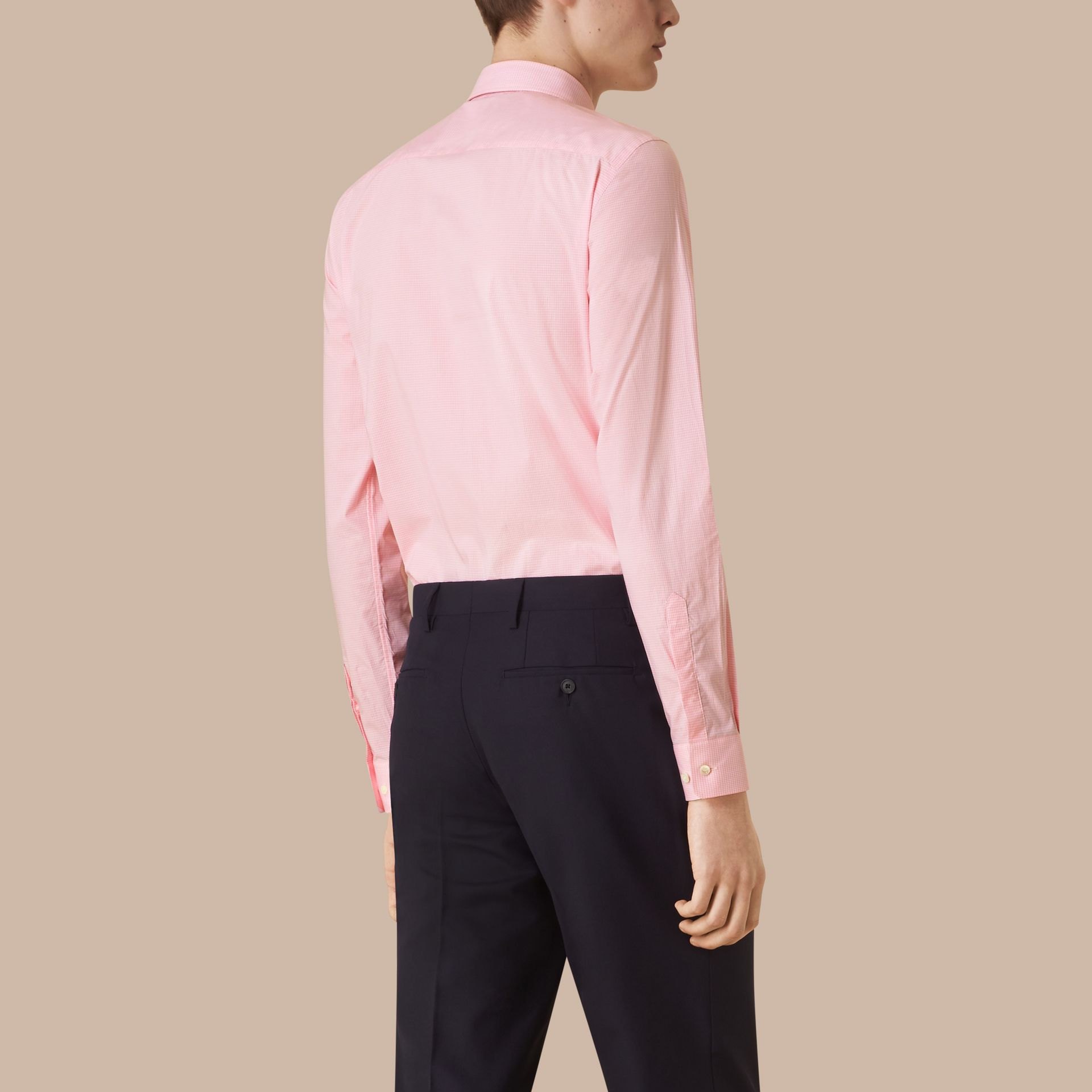 Slim Fit Gingham Cotton Poplin Shirt in City Pink - gallery image 3
