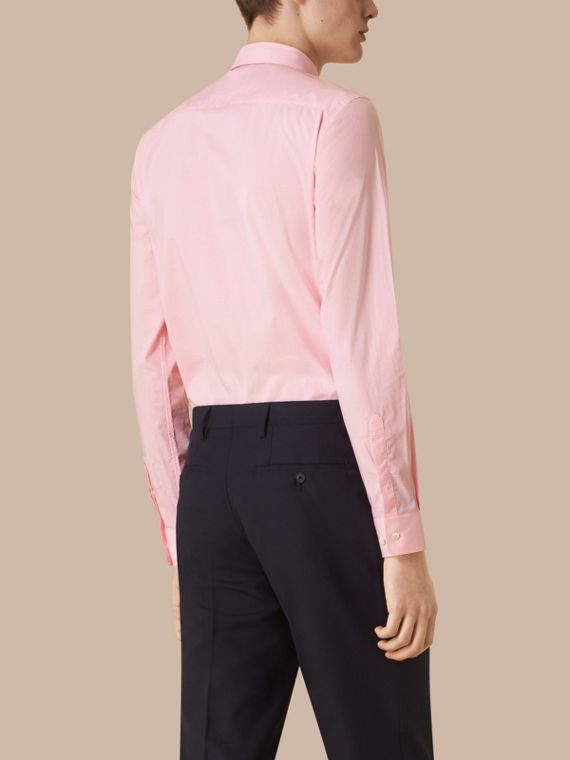 Slim Fit Gingham Cotton Poplin Shirt in City Pink - cell image 2