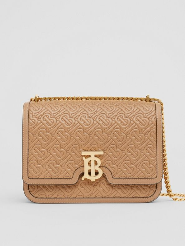 Medium Quilted Monogram Lambskin TB Bag in Honey