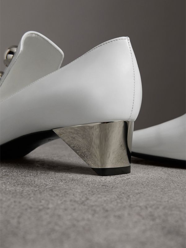 Stud Detail Patent Leather Pumps in Off White - Women | Burberry United Kingdom - cell image 3