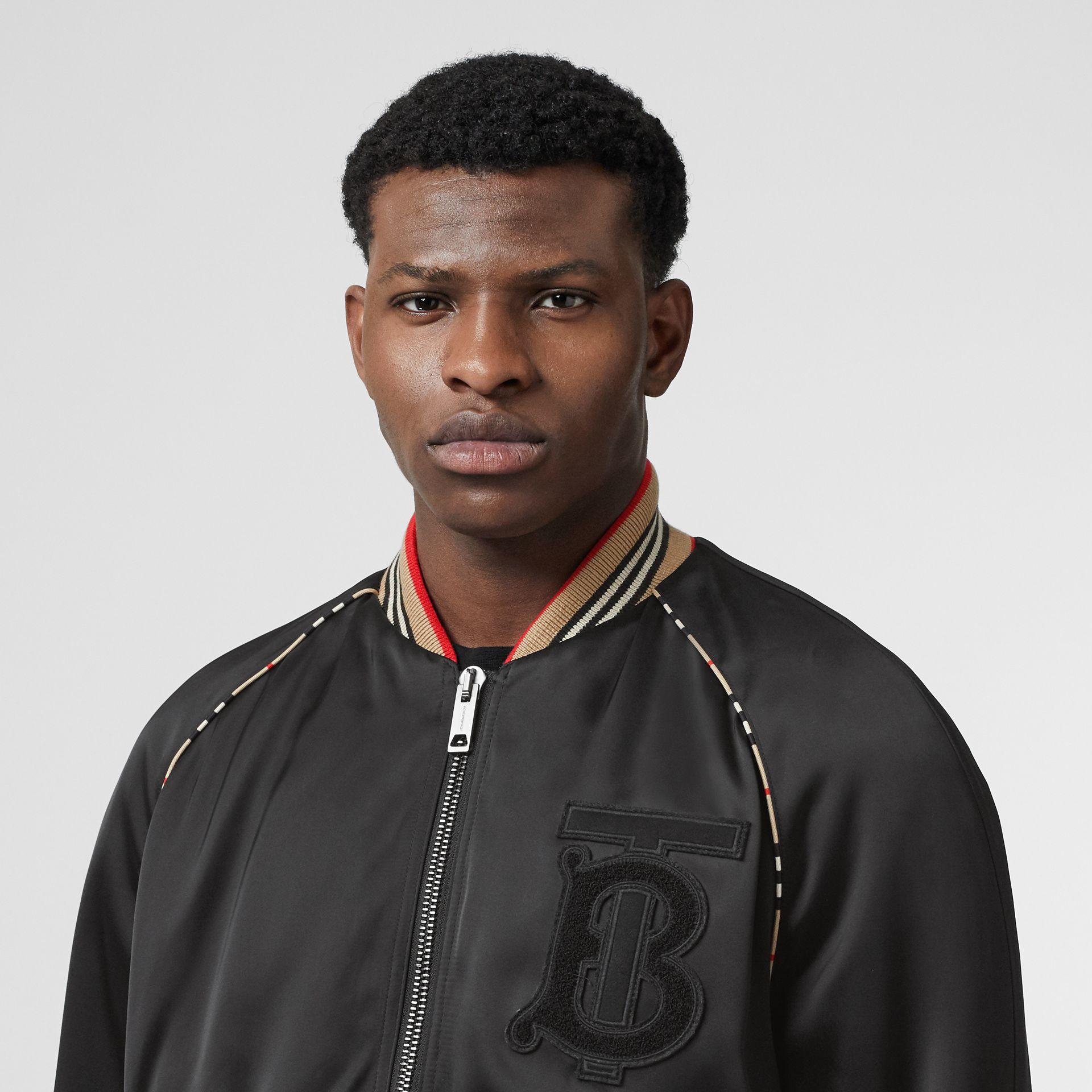 Icon Stripe Detail Monogram Motif Bomber Jacket in Black - Men | Burberry Australia - gallery image 1