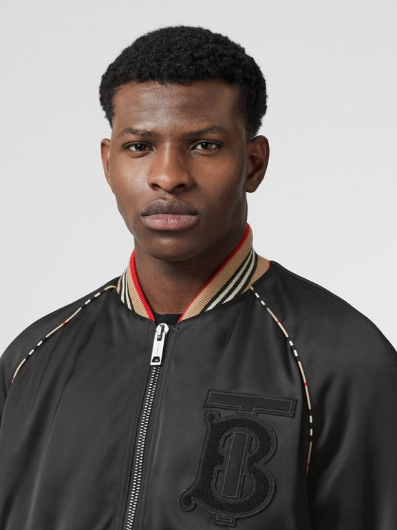 Icon Stripe Detail Monogram Motif Bomber Jacket in Black - Men | Burberry United Kingdom - cell image 1