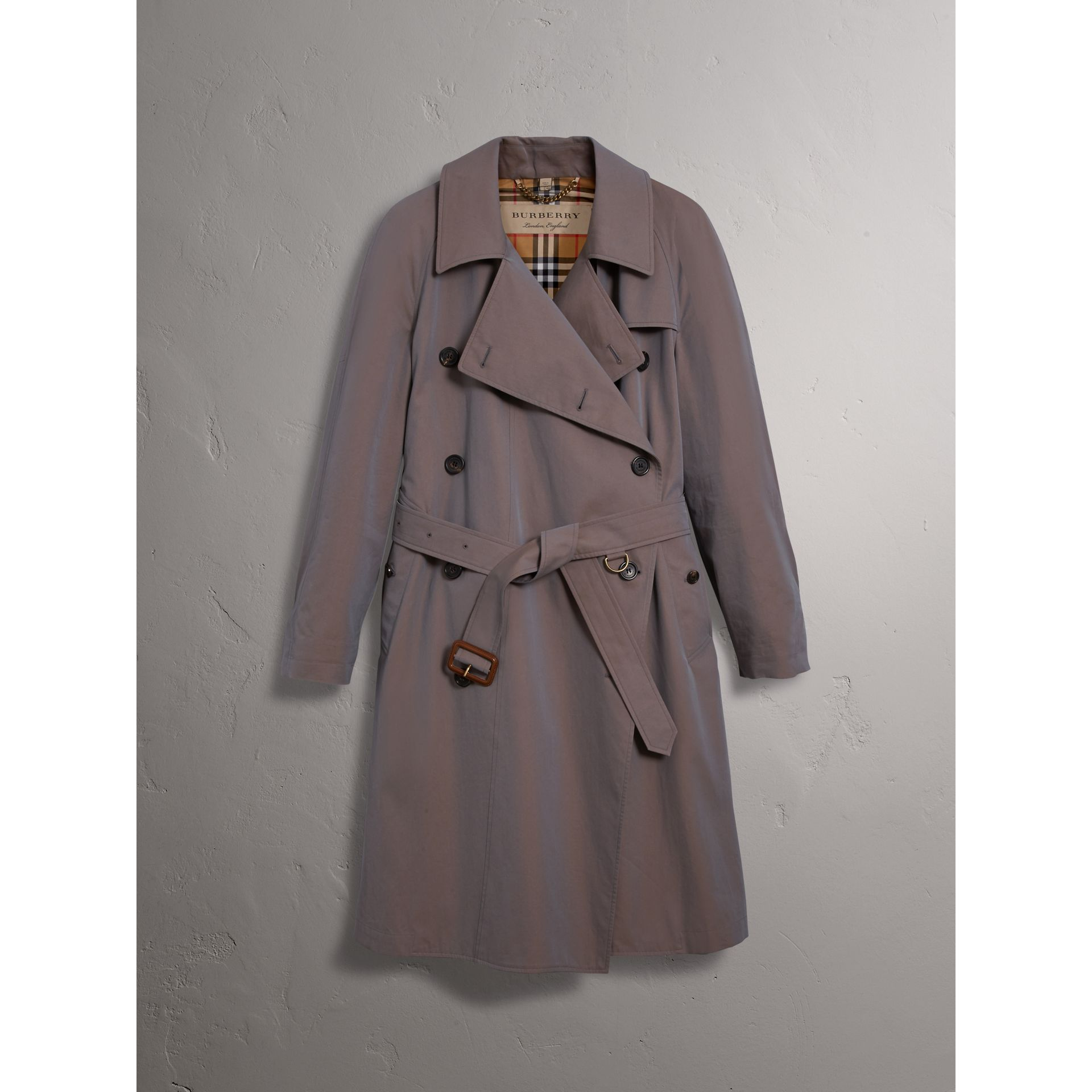 Tropical Gabardine Asymmetric Trench Coat in Lilac Grey - Women | Burberry Singapore - gallery image 3