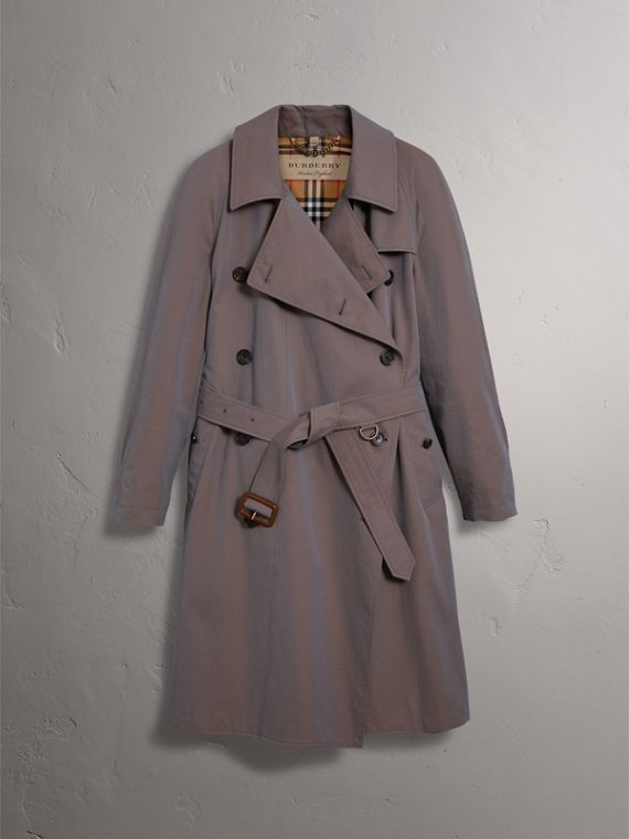 Tropical Gabardine Asymmetric Trench Coat in Lilac Grey