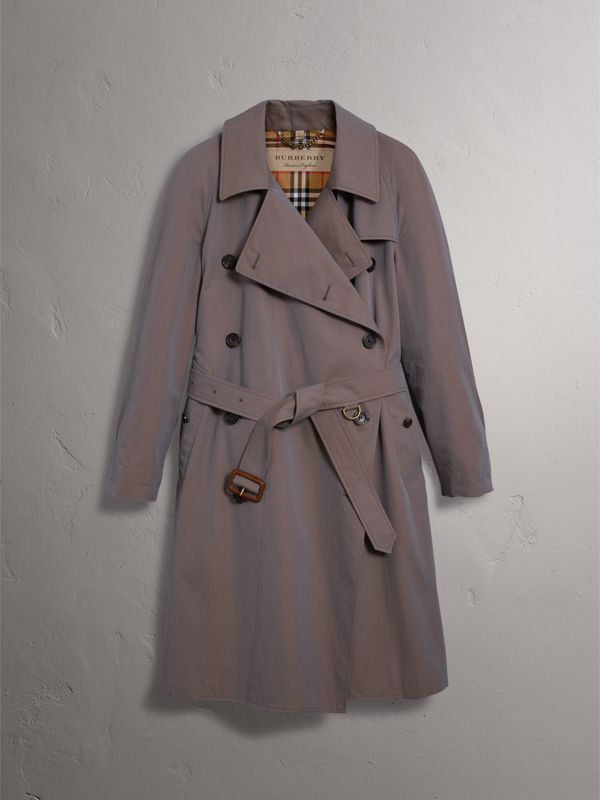 Tropical Gabardine Asymmetric Trench Coat in Lilac Grey - Women | Burberry - cell image 3