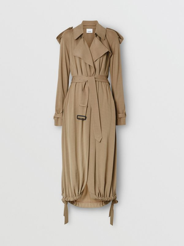 Jersey Wrap Coat in Warm Taupe - Women | Burberry - cell image 3