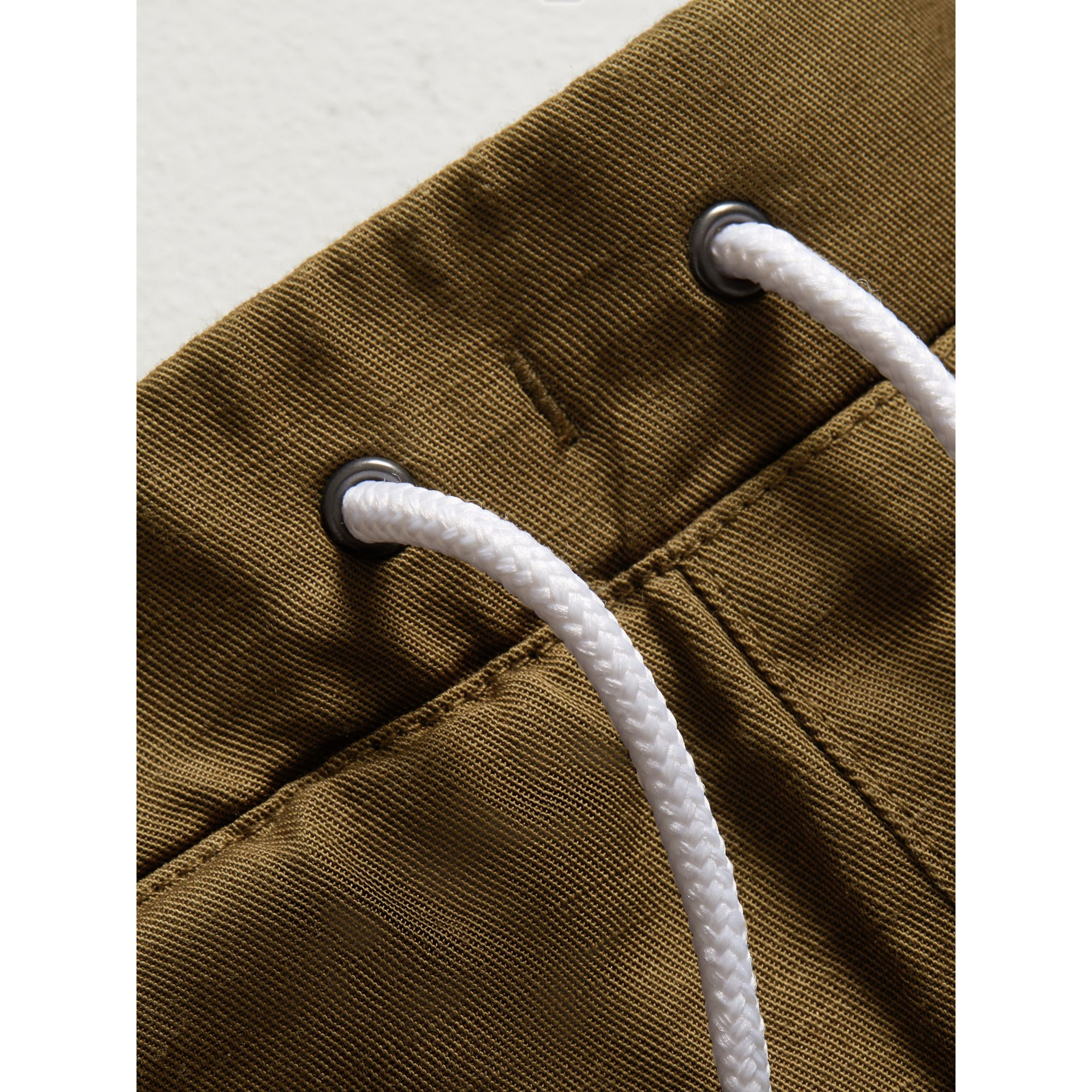 Drawcord Cotton Linen Twill Shorts in Olive - Boy | Burberry United Kingdom - gallery image 1