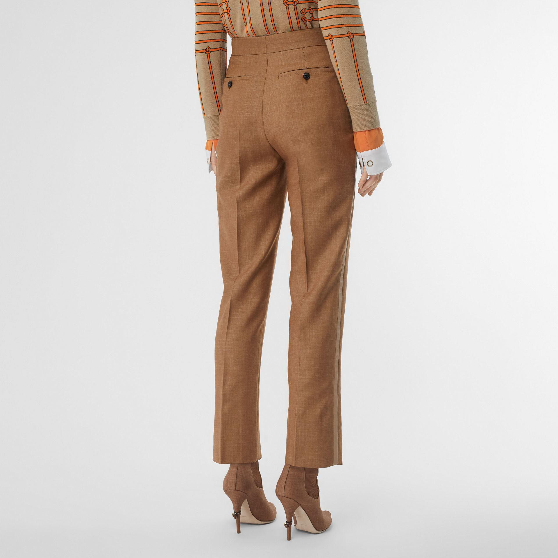 Wool Silk Mohair Linen Tailored Trousers in Bronze - Women | Burberry Hong Kong - gallery image 2
