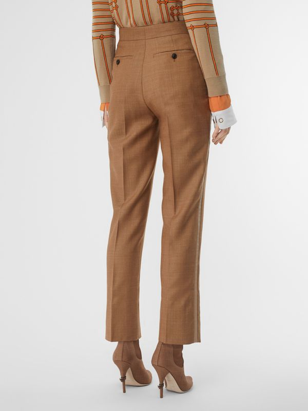 Wool Silk Mohair Linen Tailored Trousers in Bronze - Women | Burberry United States - cell image 2