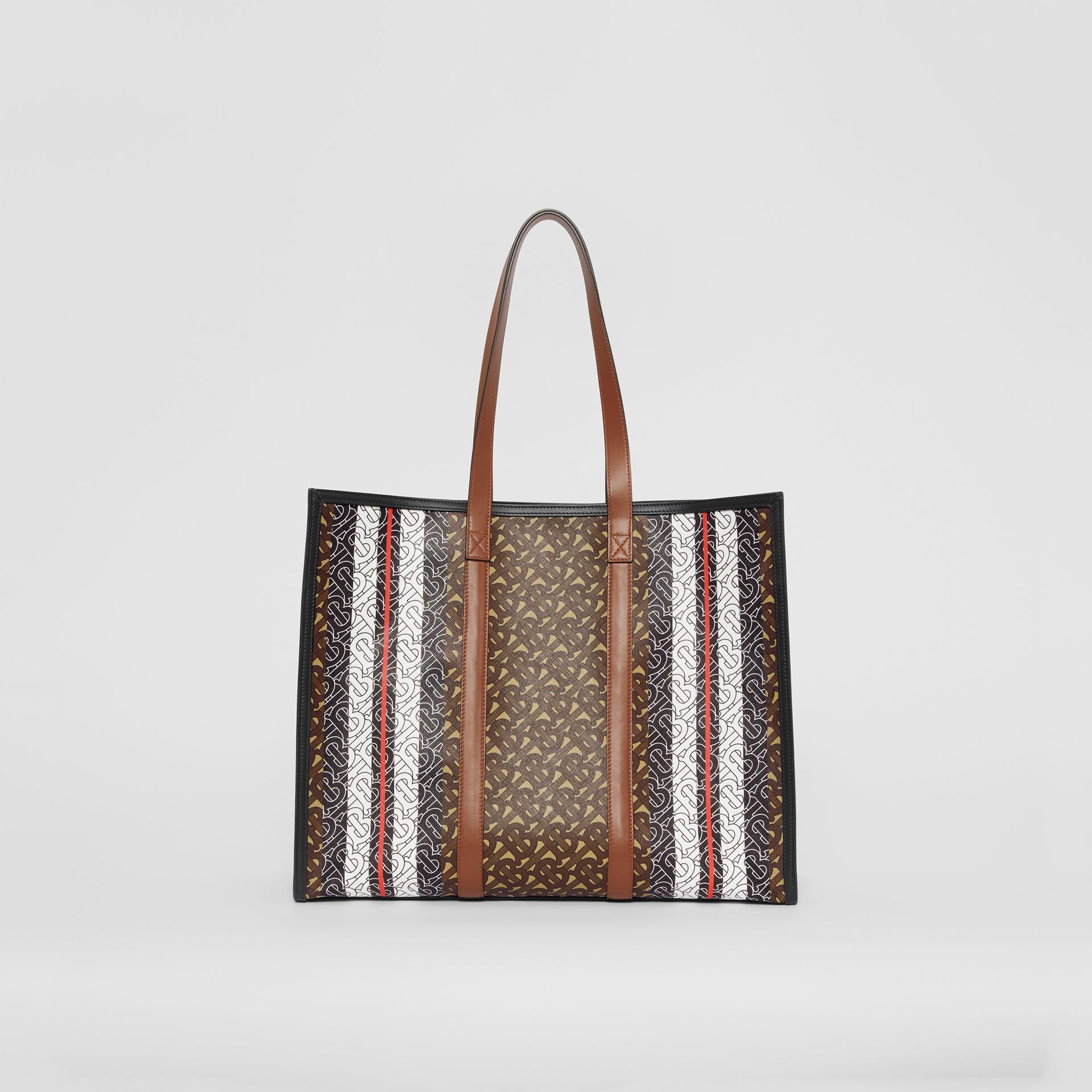 Small Monogram Stripe E-canvas Tote Bag in Bridle Brown - Women | Burberry - gallery image 5