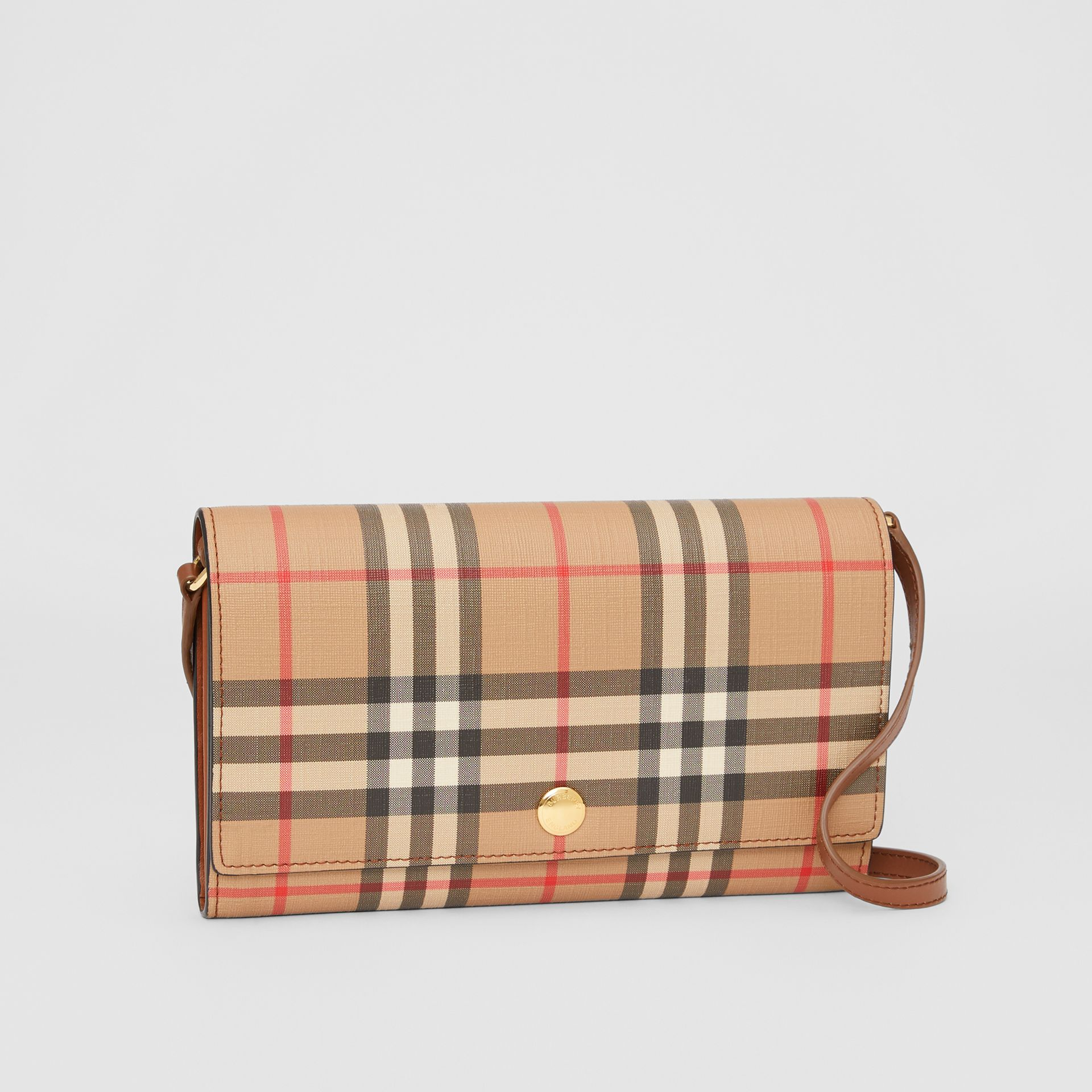 Vintage Check Wallet with Detachable Strap in Malt Brown - Women | Burberry - gallery image 4