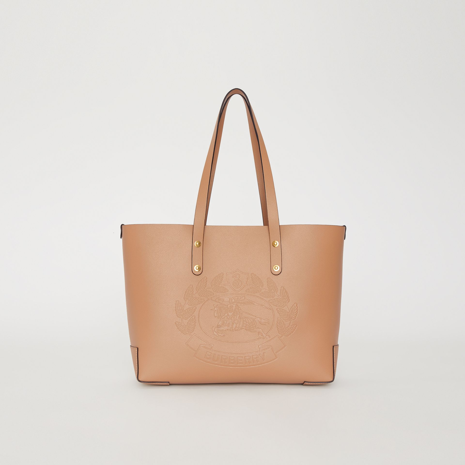 Small Embossed Crest Leather Tote in Light Camel - Women | Burberry - gallery image 0