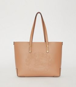 Small Embossed Crest Leather Tote in Light Camel 1289f65e52