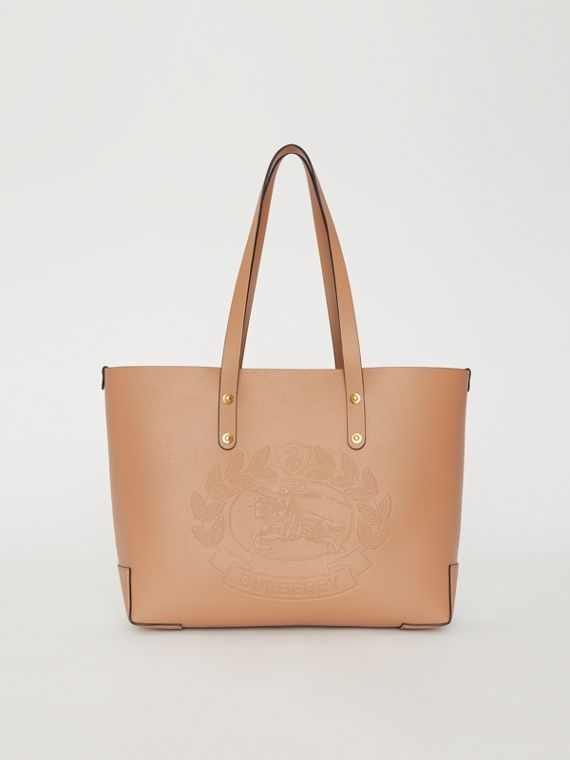 Small Embossed Crest Leather Tote In Light Camel