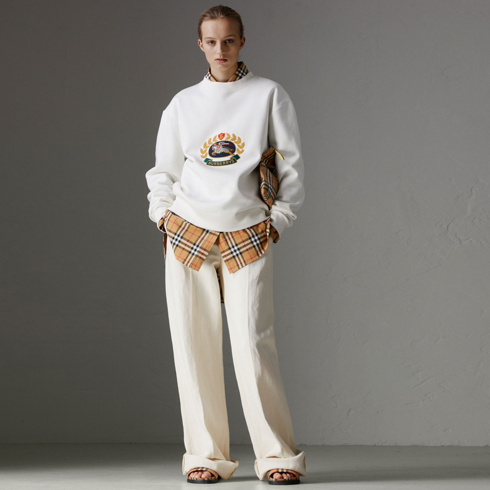Reissued Jersey Sweatshirt in Off White - Women | Burberry Hong Kong - gallery image 0