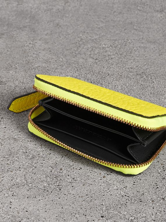 Embossed Leather Ziparound Coin Case in Neon Yellow - Men | Burberry - cell image 3