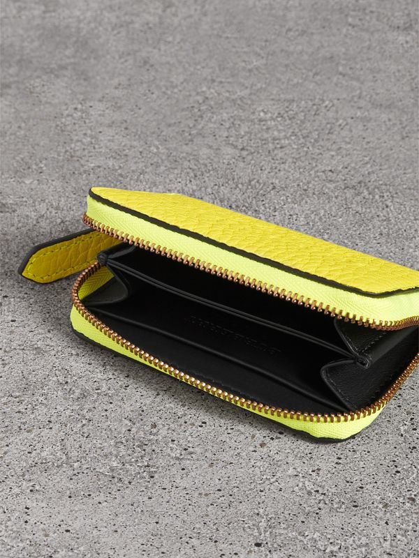 Embossed Leather Ziparound Coin Case in Neon Yellow - Men | Burberry United Kingdom - cell image 3