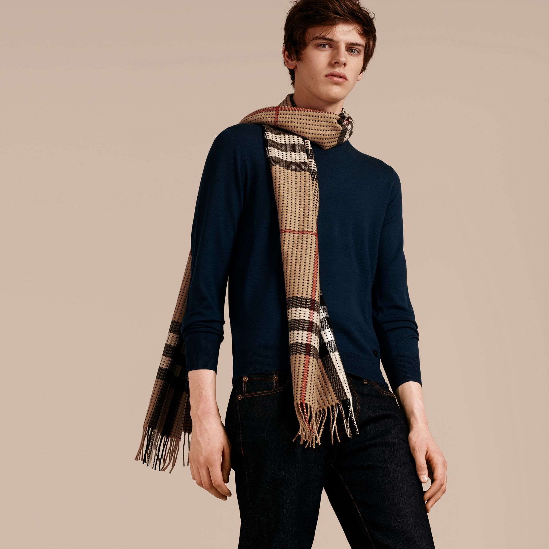 Camel check The Classic Cashmere Scarf in Check with Topstitch Detail Camel - gallery image 4