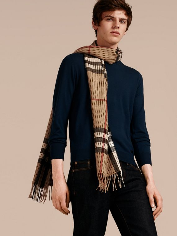 Camel check The Classic Cashmere Scarf in Check with Topstitch Detail Camel - cell image 3