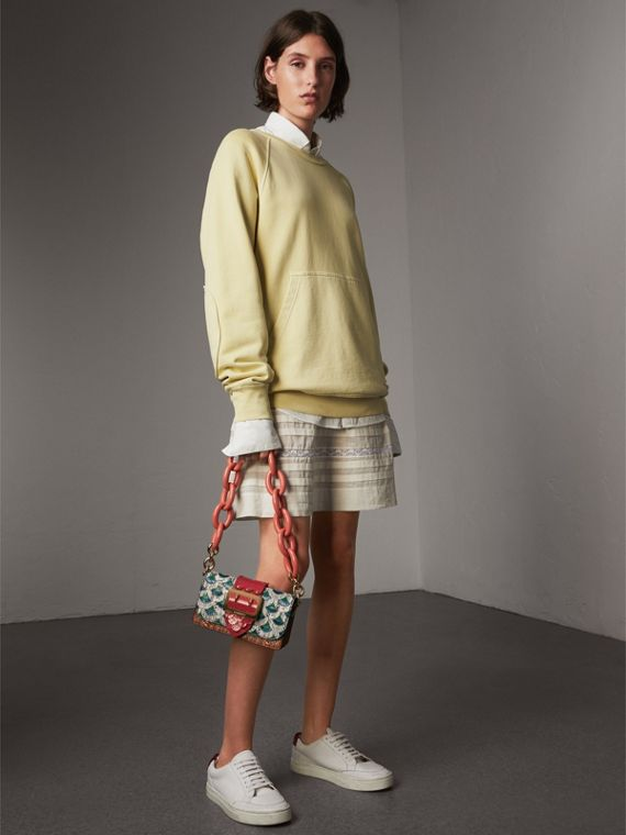The Small Buckle Bag in Scallop Trim Snakeskin and Ostrich in Natural - Women | Burberry Canada - cell image 2