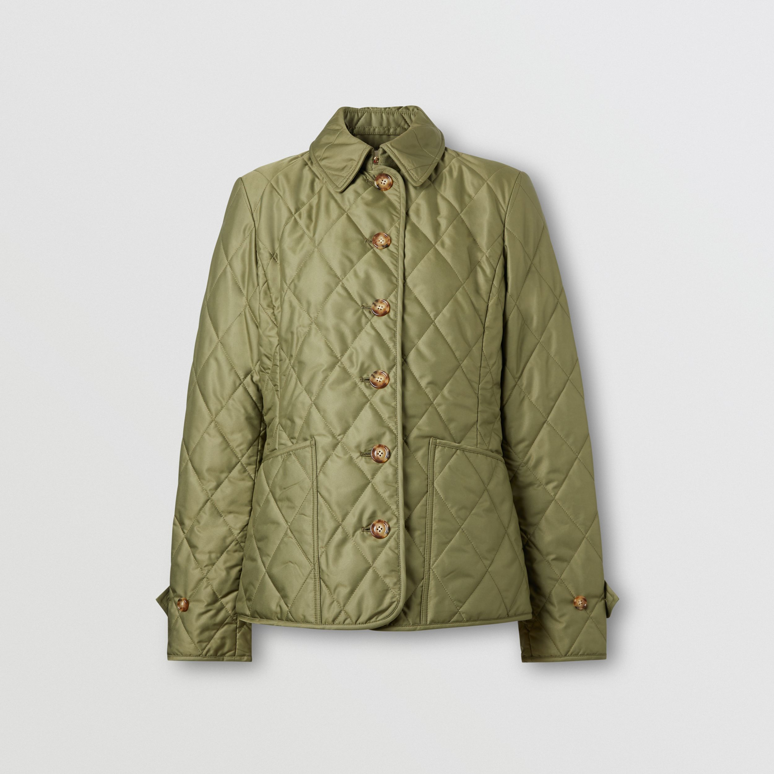 Diamond Quilted Thermoregulated Jacket in Olive Green - Women | Burberry - 4