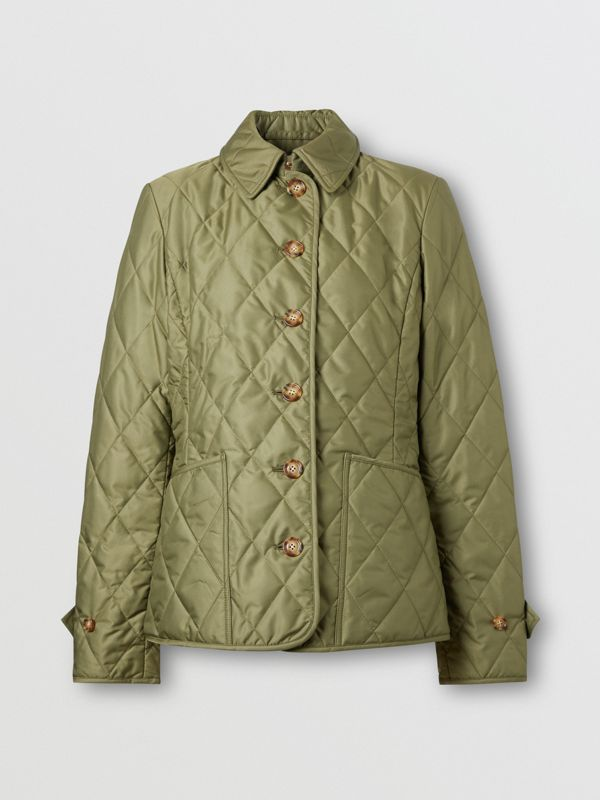 Diamond Quilted Thermoregulated Jacket in Olive Green - Women | Burberry - cell image 3