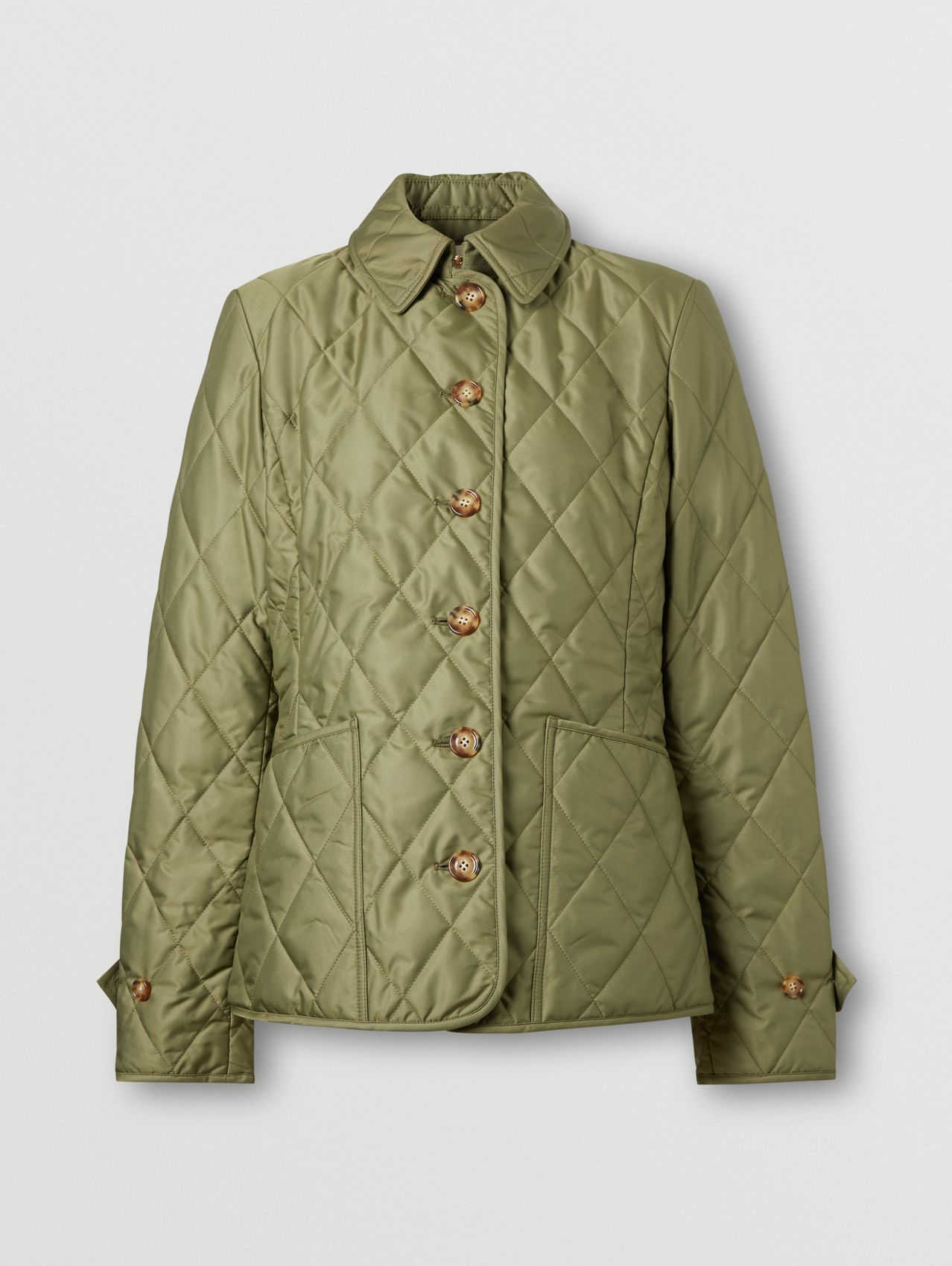 Diamond Quilted Thermoregulated Jacket in Olive Green
