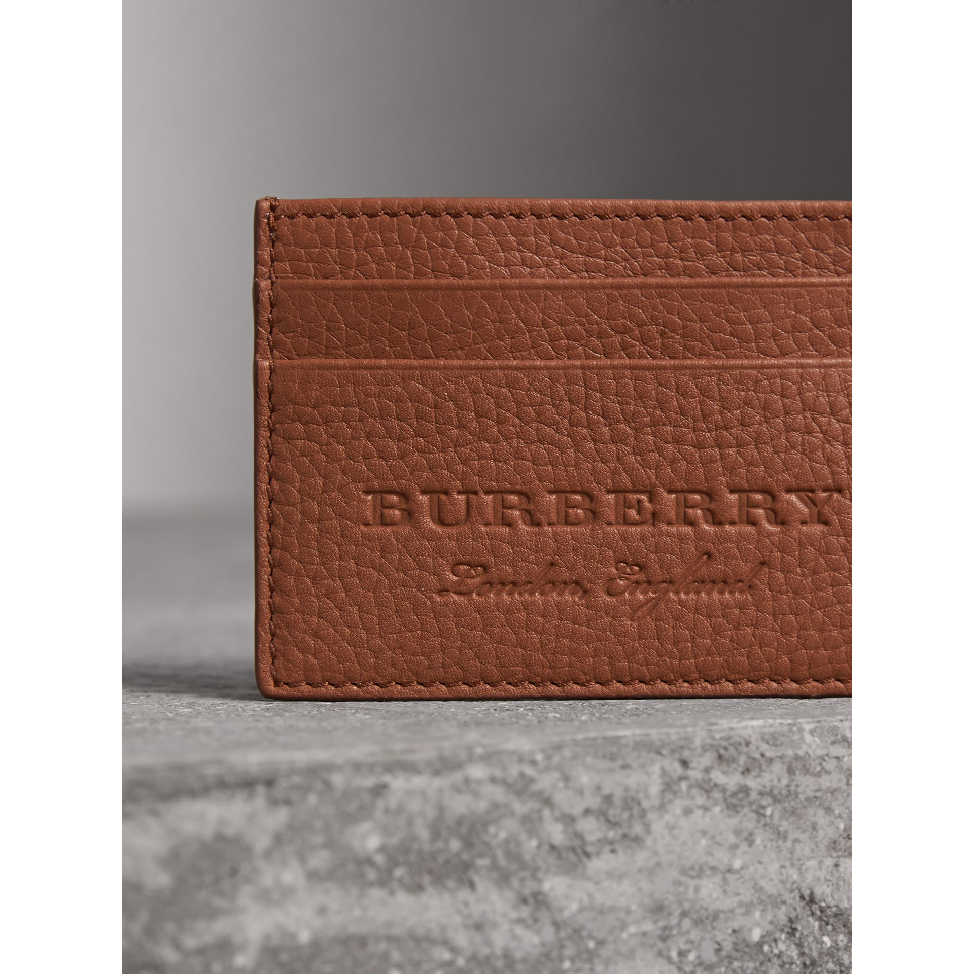 Textured Leather Card Case in Chestnut Brown - Men | Burberry Singapore - gallery image 1