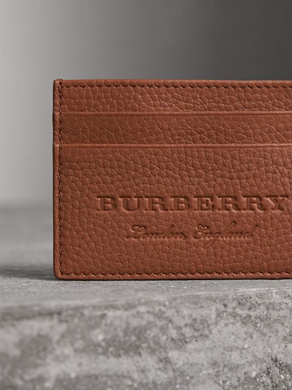 Textured Leather Card Case in Chestnut Brown | Burberry - cell image 1