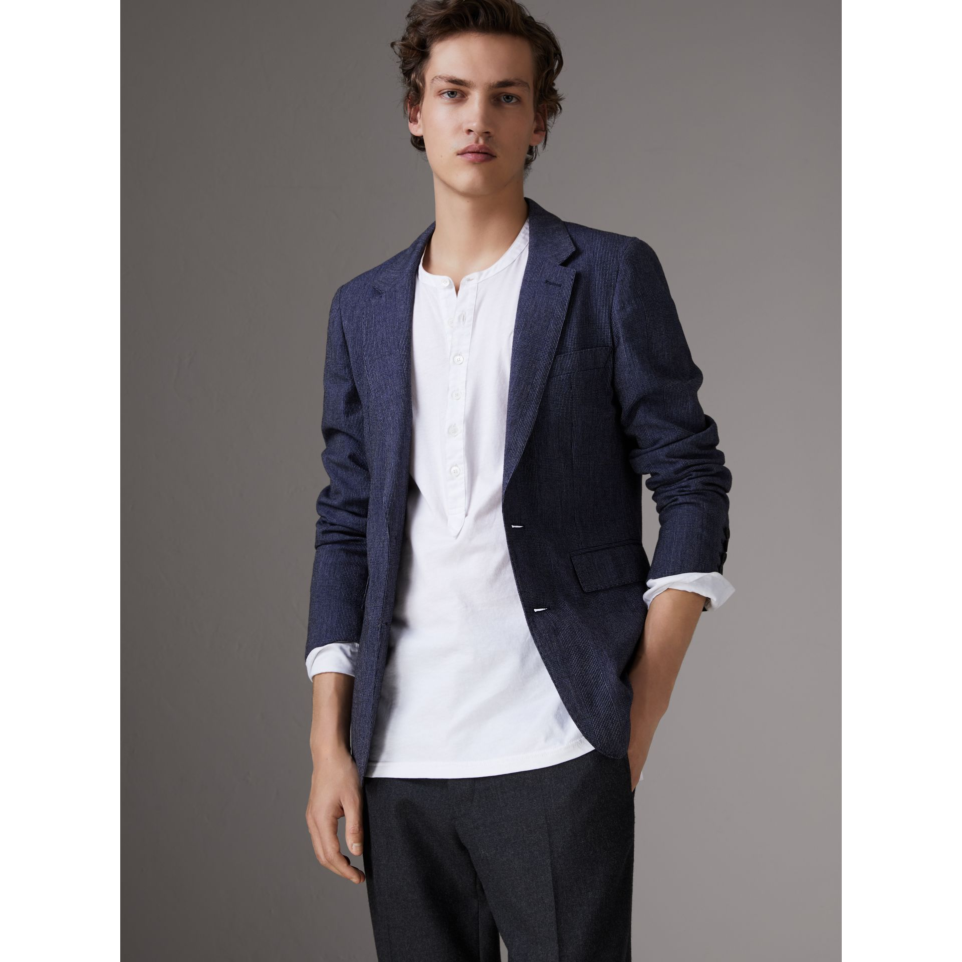 Slim Fit Cotton Wool Blend Tailored Jacket in Bright Blue Melange - Men | Burberry - gallery image 0