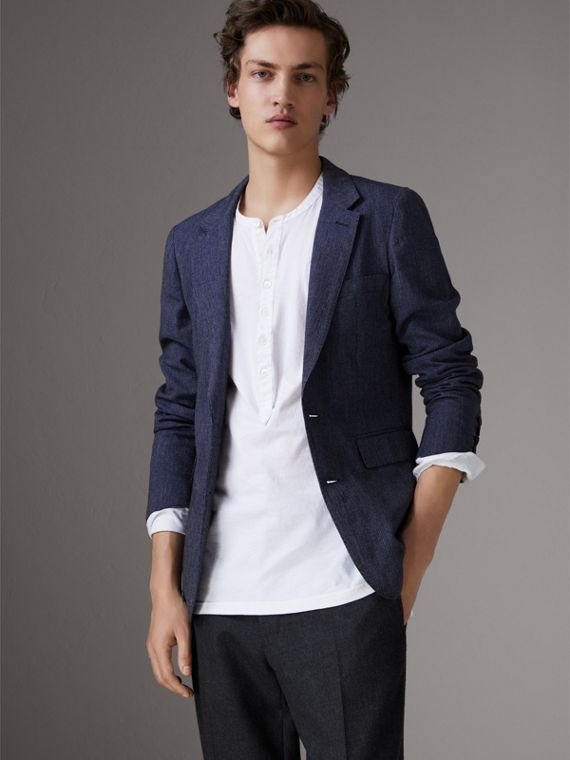 Slim Fit Cotton Wool Blend Tailored Jacket in Bright Blue Melange