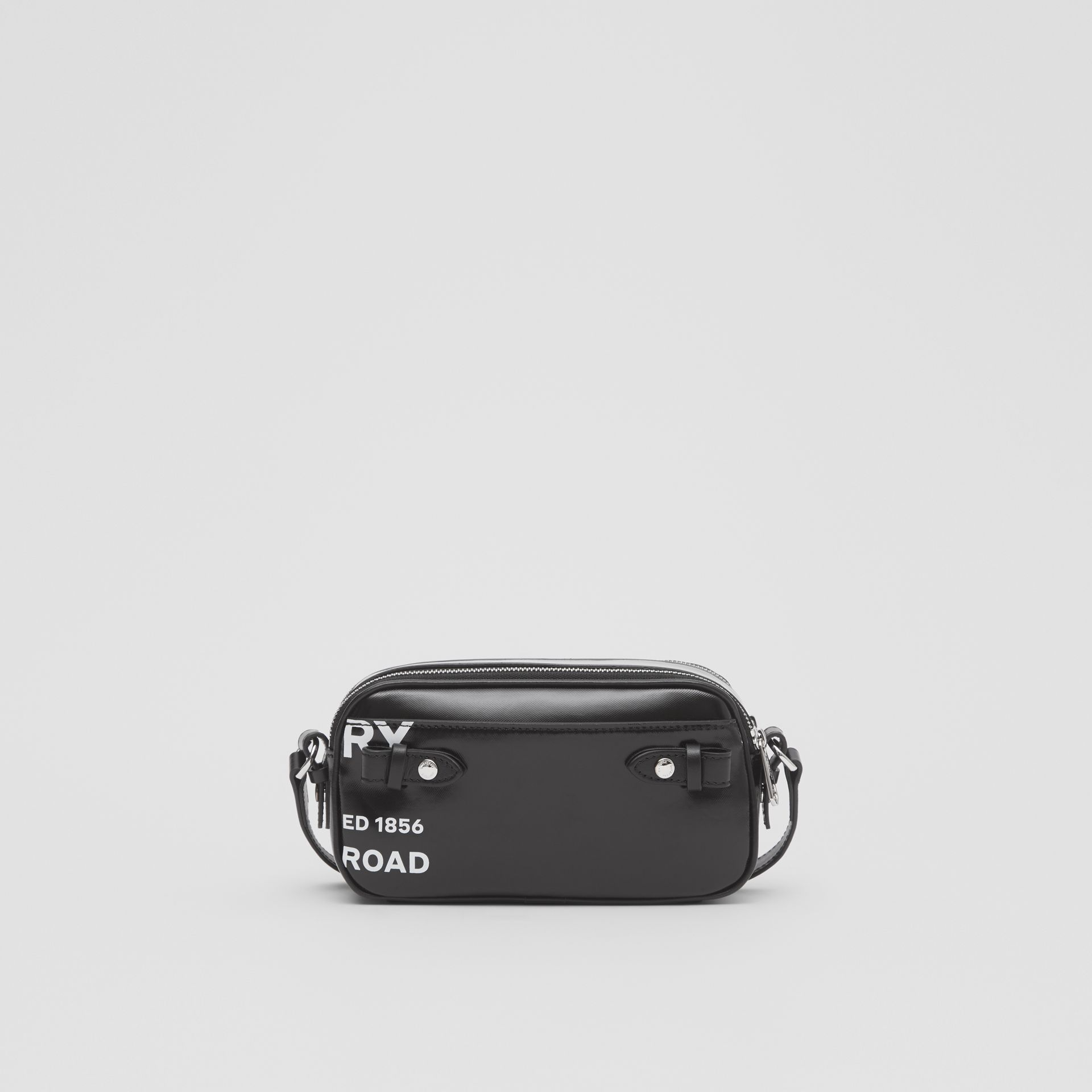 Mini Horseferry Print Coated Canvas Camera Bag in Black | Burberry - gallery image 9