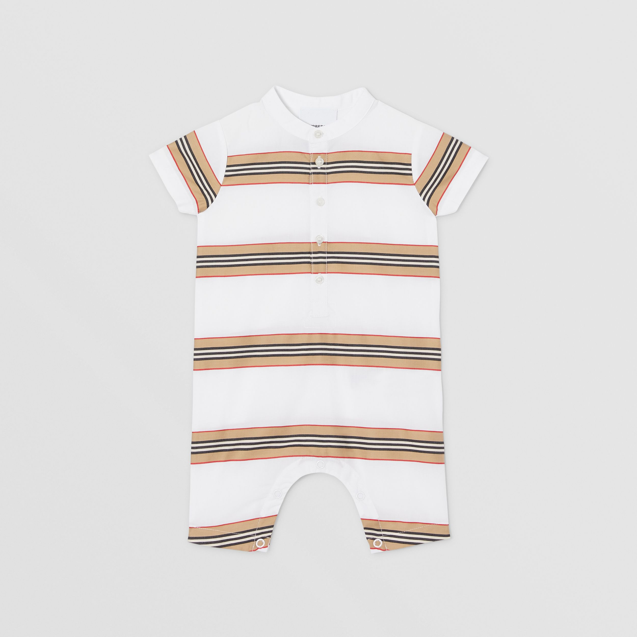 Icon Stripe Cotton Playsuit in White - Children | Burberry - 1
