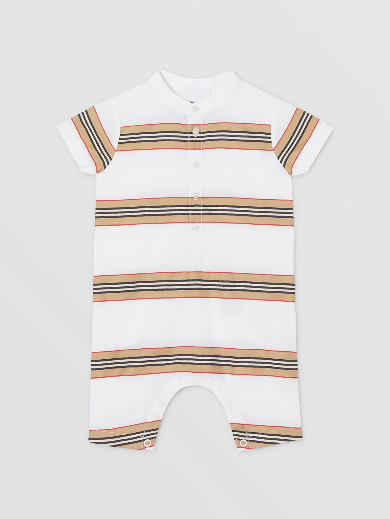 Icon Stripe Cotton Playsuit in White