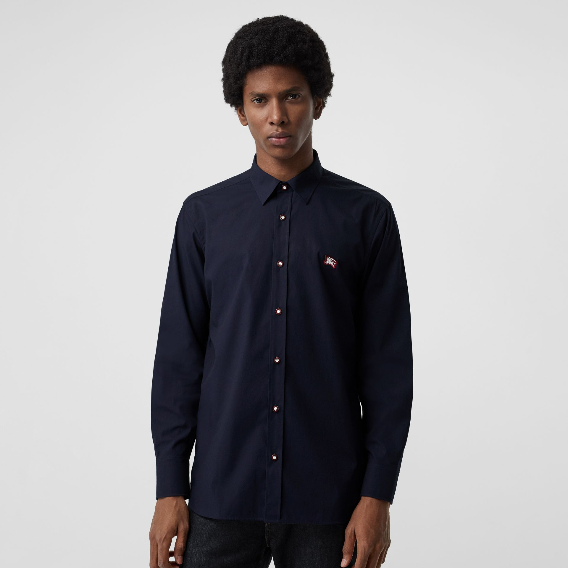 Contrast Button Stretch Cotton Shirt in Navy - Men | Burberry - gallery image 0
