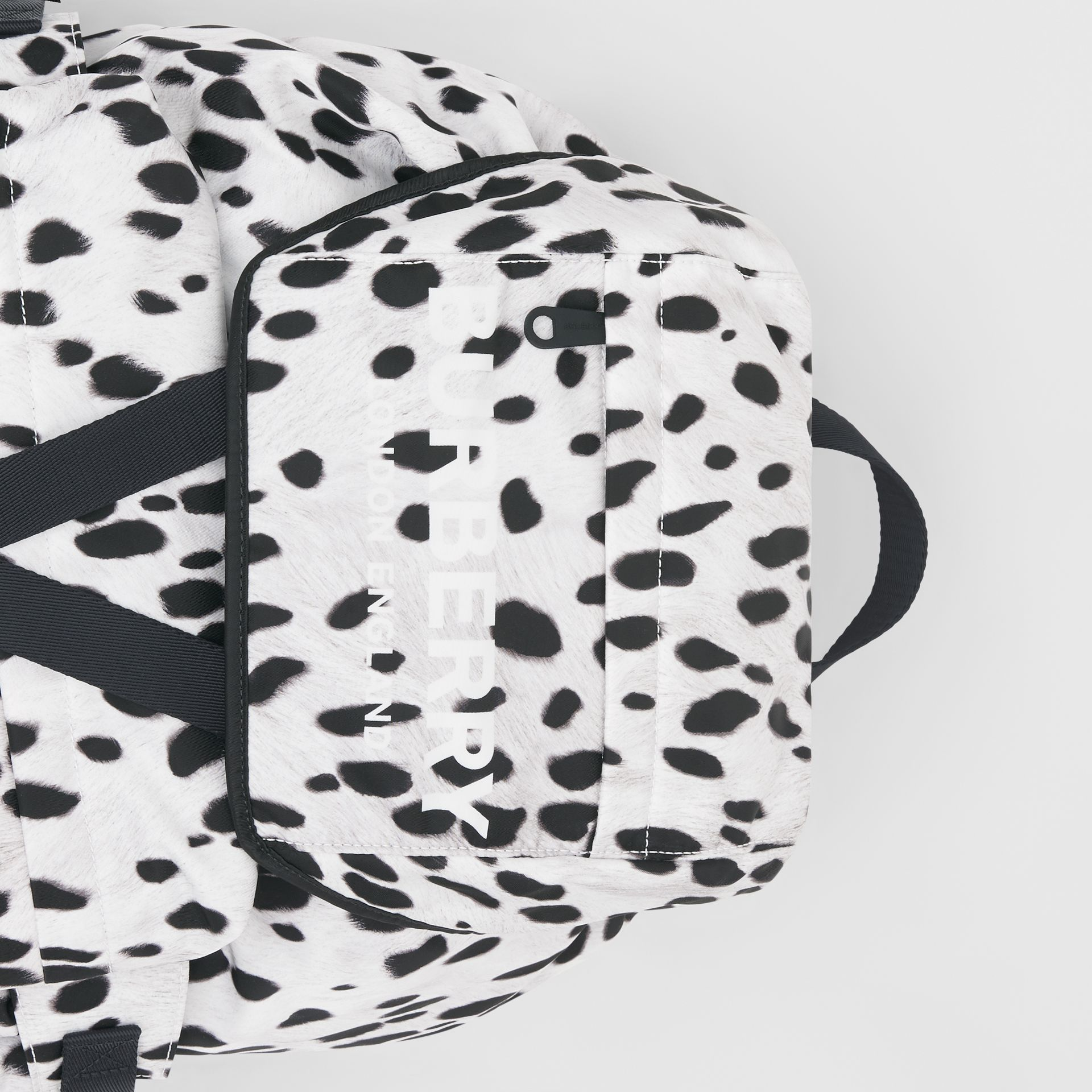 Logo and Dalmatian Print Nylon Backpack in Black - Women | Burberry United Kingdom - gallery image 1