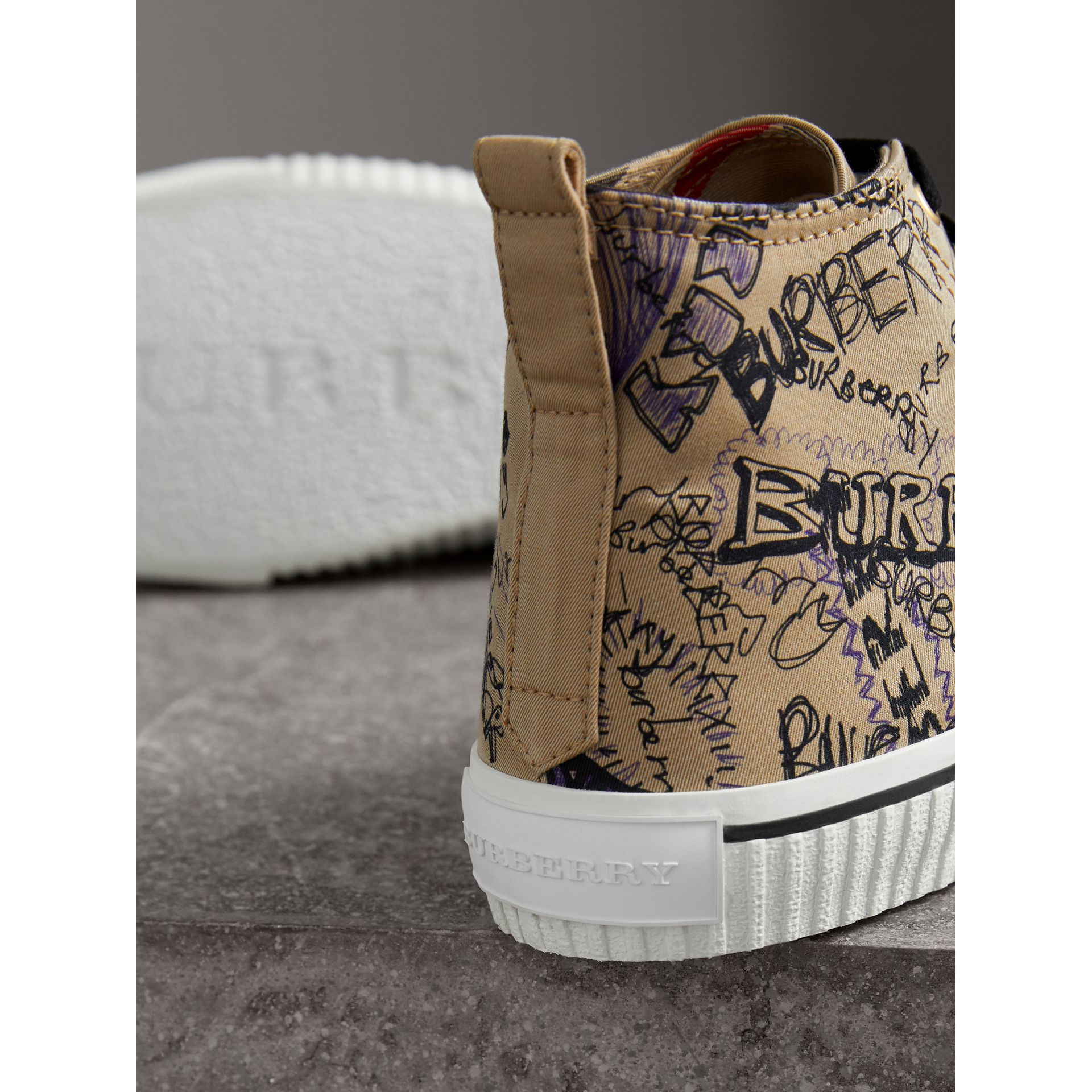 Doodle Print Cotton Gabardine High-top Sneakers in Honey - Men | Burberry - gallery image 1