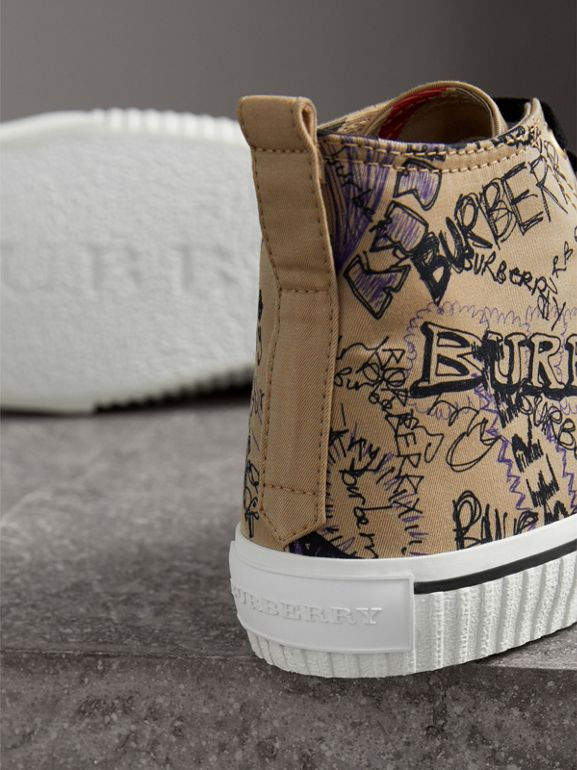 Doodle Print Cotton Gabardine High-top Sneakers in Honey - Men | Burberry - cell image 1
