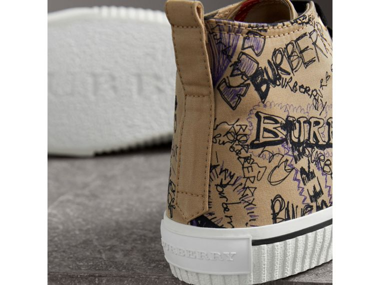 Doodle Print Cotton Gabardine High-top Trainers in Honey - Men | Burberry - cell image 1