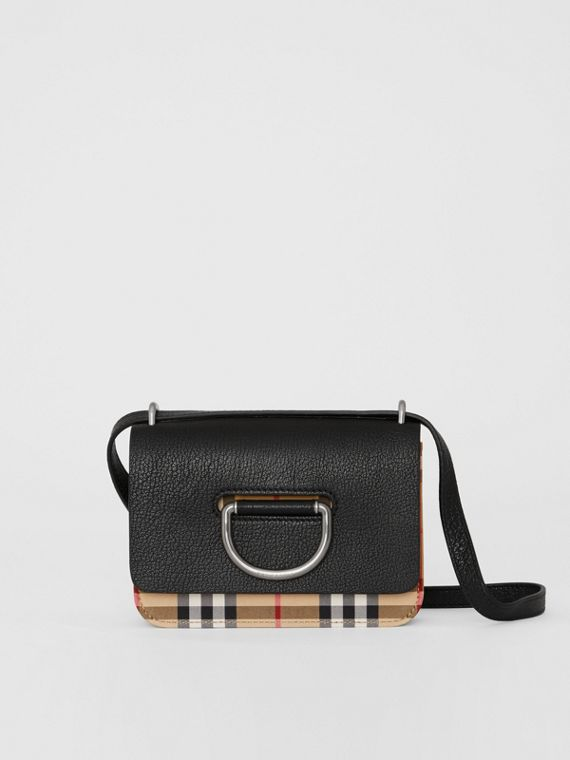 Bolso D-ring mini en piel lisa y a cuadros Vintage Checks (Negro)