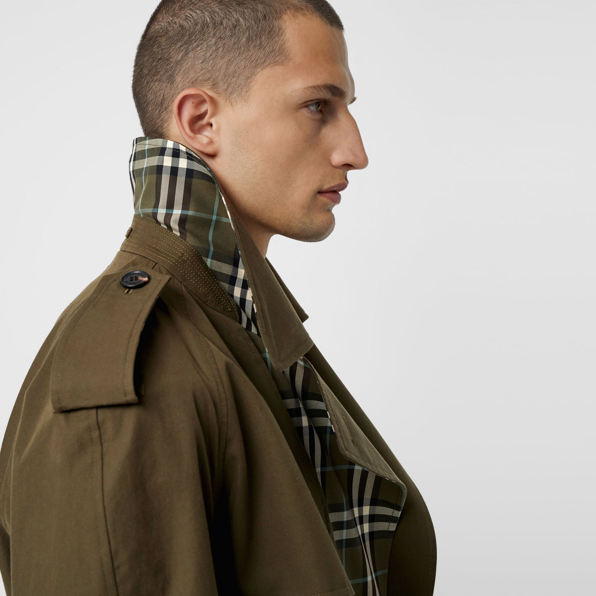 Reversible Tropical Gabardine and Check Trench Coat in Olive Green - Men | Burberry United Kingdom - gallery image 1