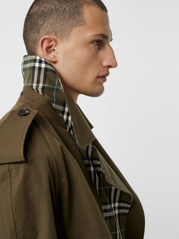 Reversible Tropical Gabardine and Check Trench Coat in Olive Green - Men | Burberry United Kingdom - cell image 1