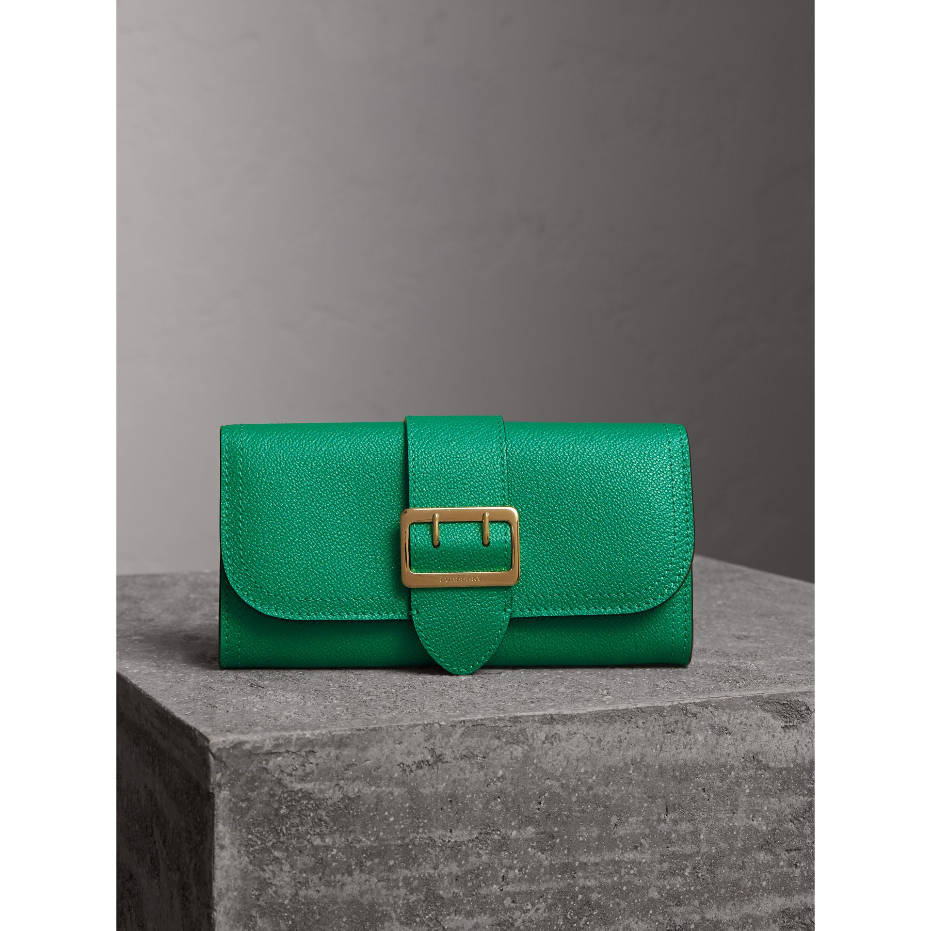 Textured Leather Continental Wallet in Bright Pigment Green - Women | Burberry - gallery image 6