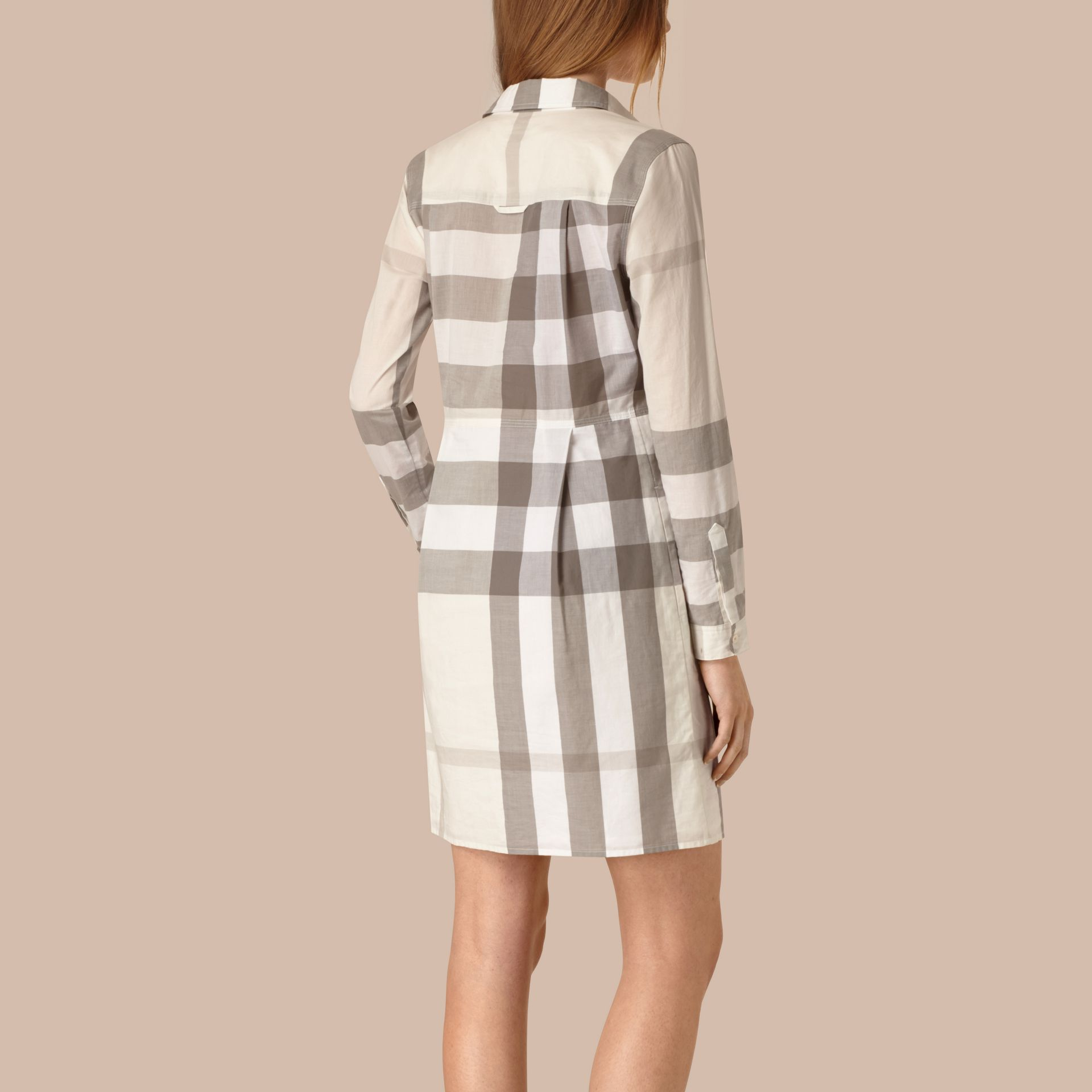 Natural Check Cotton Shirt Dress Natural - gallery image 2