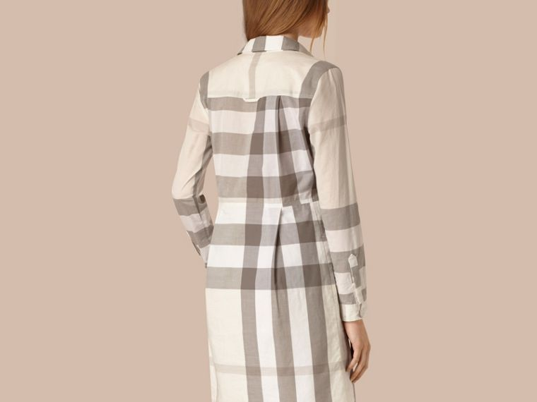 Natural Check Cotton Shirt Dress Natural - cell image 1