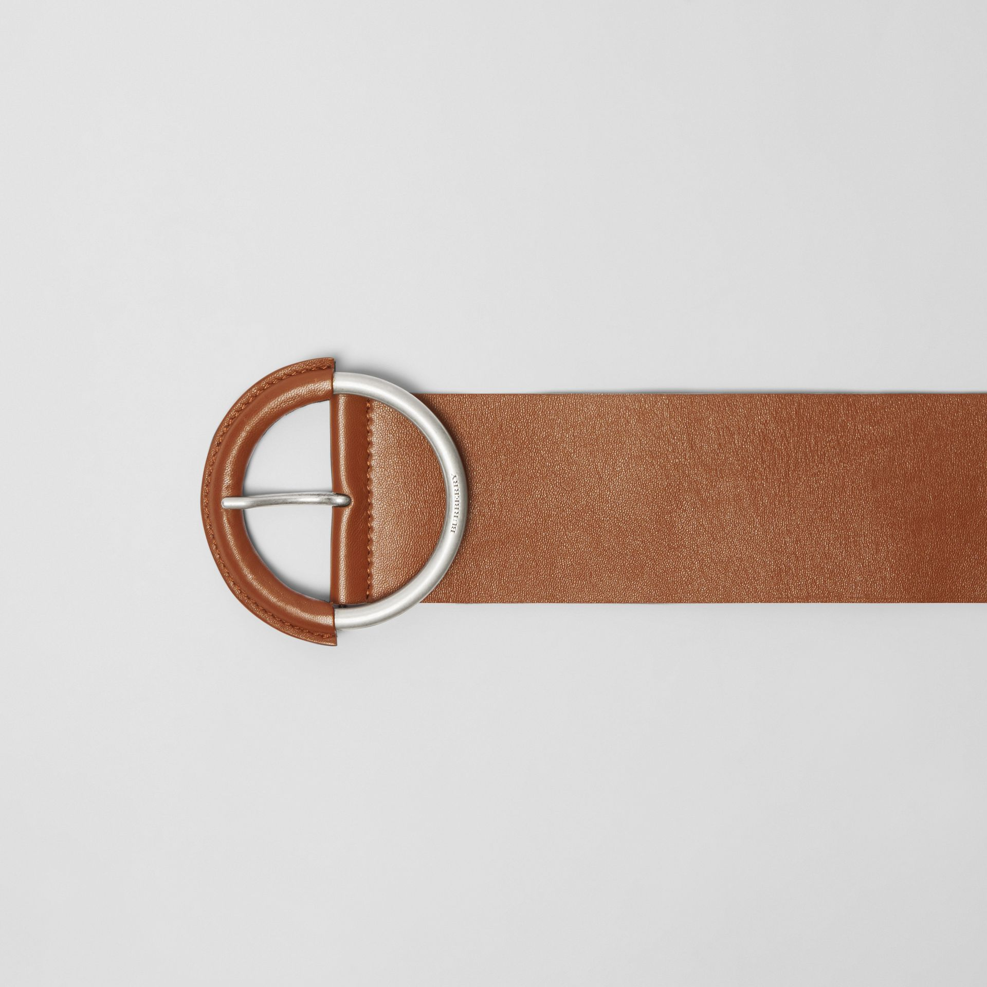 Round Buckle Leather Belt in Tan - Women | Burberry - gallery image 1