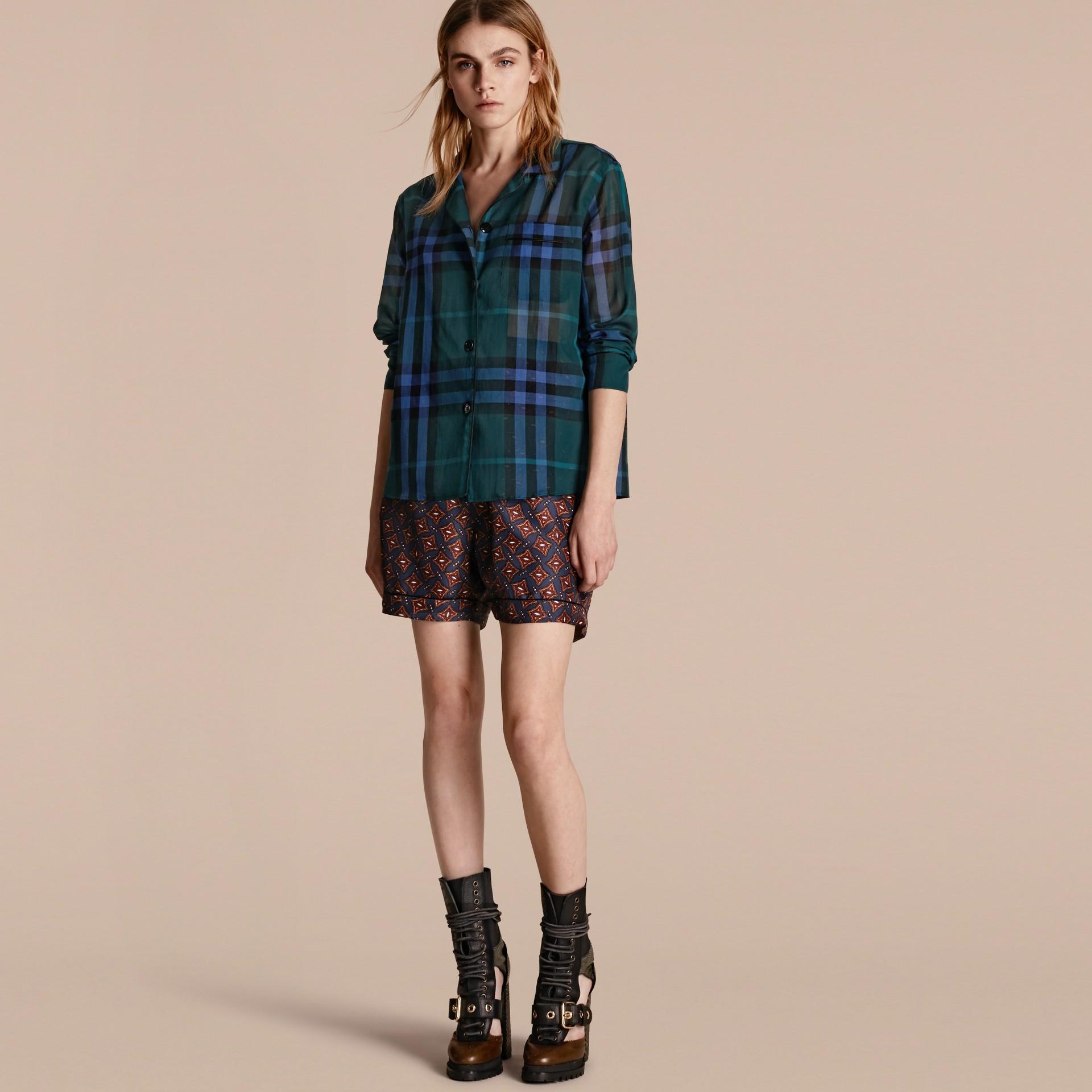 Рубашка в клетку в пижамном стиле (Темный Сине-зеленый) - Для женщин | Burberry - изображение 1