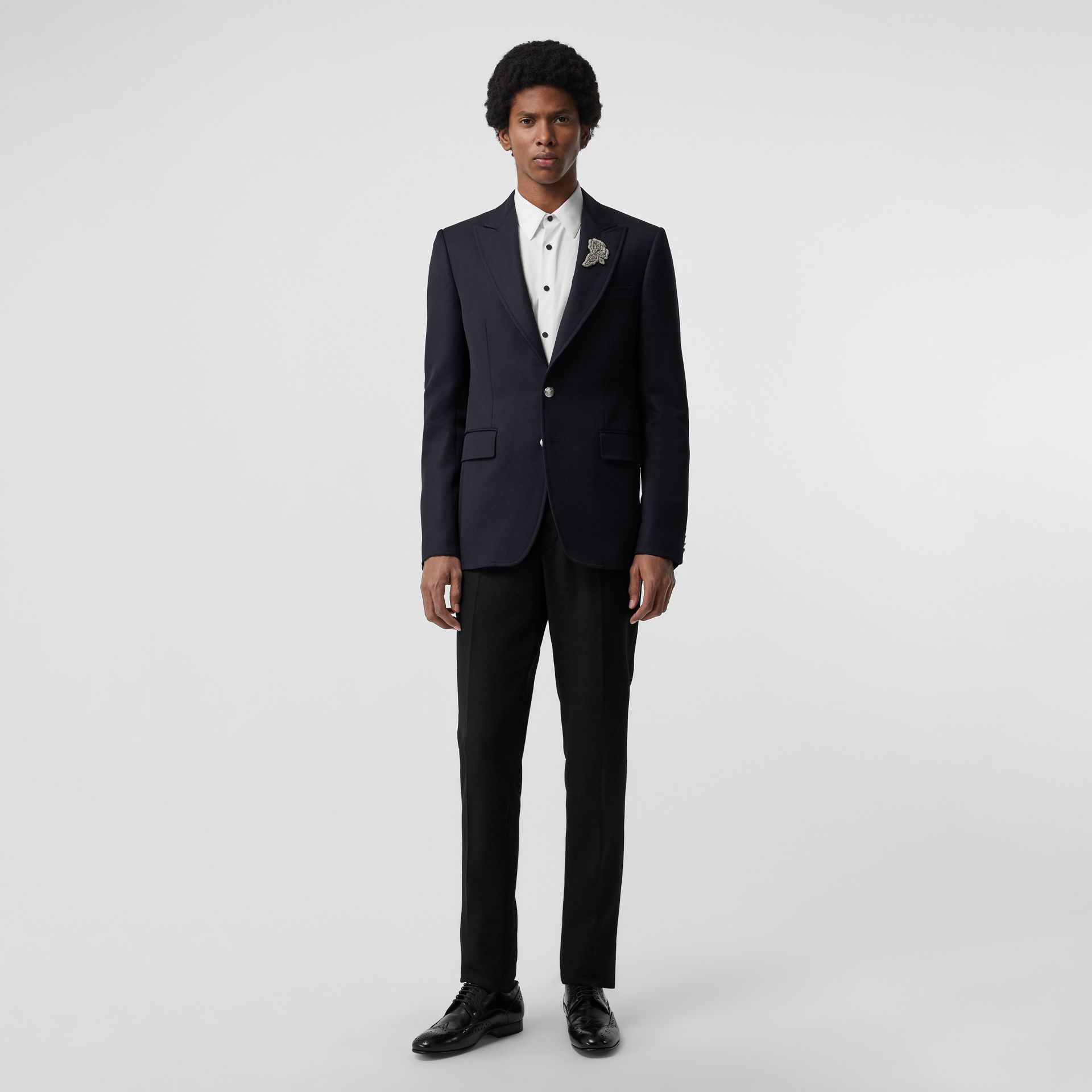 Slim Fit Bullion Floral Wool Gabardine Blazer in Black - Men | Burberry Singapore - gallery image 0