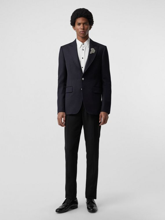 Slim Fit Bullion Floral Wool Gabardine Blazer in Black